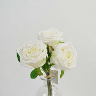 Rose bundle, natural touch, 3 stk., 29 cm, white