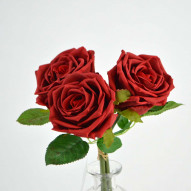 Rose bundle, natural touch, 3 stk., 29 cm, red