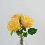 Rose bundle, natural touch, 3 stk., 29 cm, yellow
