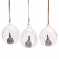 Glassball Høns 3-pack lightgrey, terracotta