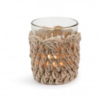 Tealight Holder Crochet, Grey/Brown