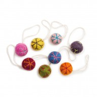 Balls w/Snowflakes, Colourful, Set of 8