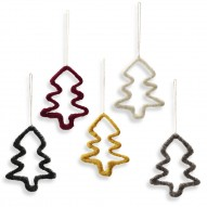 Christmas Trees on Wire, Set of 5 pcs