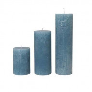Rustic candle, Large - DUSTY BLUE 75 timer