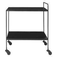 Bar Cart Anne - BLACK m. Sort Marmorglas