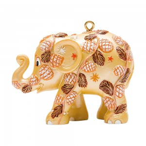 Christmas elephant for hanging, Winter Forest, Gold